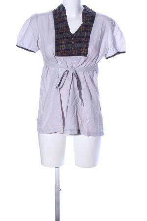 V-Neck Shirt light grey-black check pattern casual look