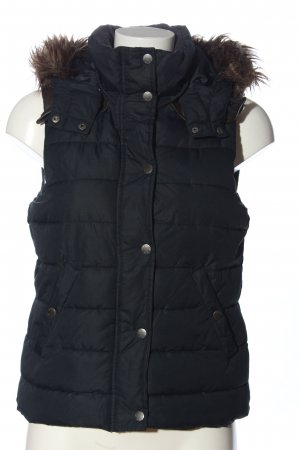 L.O.G.G. H&M Hooded Vest black quilting pattern casual look