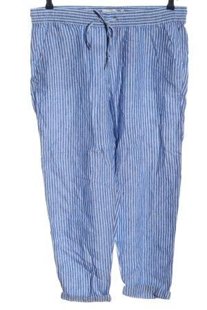 L.O.G.G. H&M Lniane spodnie biały-niebieski Wzór w paski W stylu casual