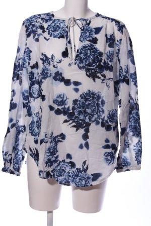 L.O.G.G Langarm-Bluse blau-weiß Blumenmuster Casual-Look