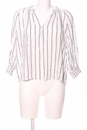 L.O.G.G Geribd shirt wit-blauw gestreept patroon casual uitstraling