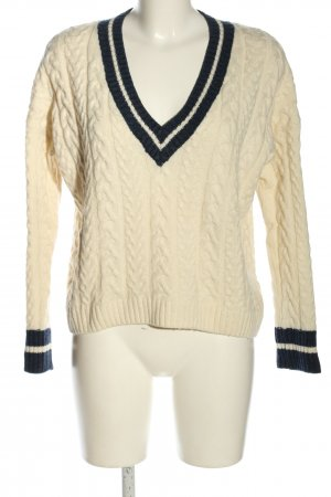 L.O.G.G Pull en laine blanc cassé-noir torsades style décontracté
