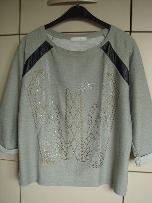 L' olive verbe - Pullover Gr. 40/42 Pulli grau mit glänzenden und stumpfen kleinen Perlen - Vintage