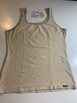 L Shirt too Skinny creme beige grün mit kl. Fleck
