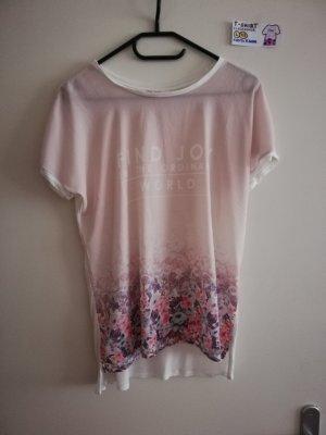 L T shirt clockhouse babyrosa mit Blumen und Spruch