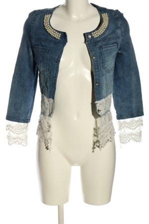l.x.x.y Veste en jean bleu-blanc style décontracté