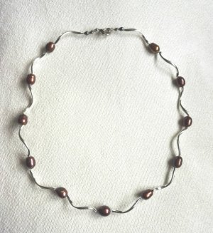 Pearl Necklace silver-colored-brown