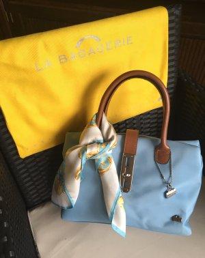 La bagagerie Carry Bag light blue-cognac-coloured leather