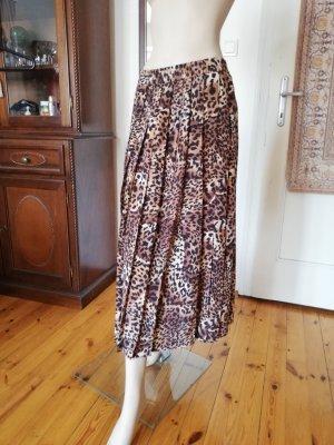 la belle Faltenrock aus reiner Seide mit Acetatfutter Glockenform Leopard animal print