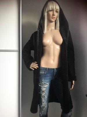 la belle Manteau à capuche noir tissu mixte