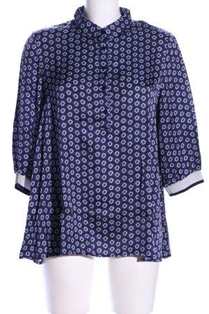 La Camicia Schlupf-Bluse blau-weiß Allover-Druck Casual-Look