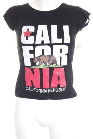 La Camilia T-Shirt schwarz Schriftzug gedruckt Street-Fashion-Look
