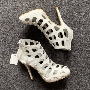 Cut Out Booties white leather