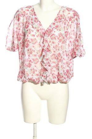 La city Camicetta a maniche corte bianco-rosa stampa integrale stile casual