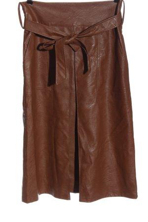 la fée maraboutée Jupe en cuir synthétique brun style décontracté