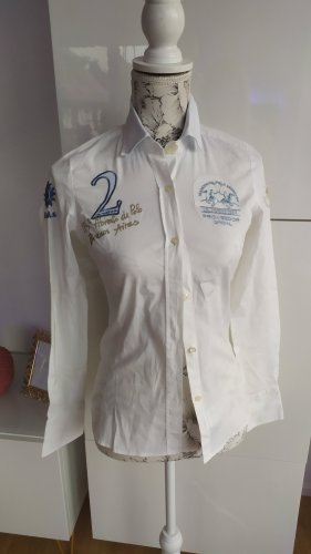 La Martina Long Sleeve Blouse azure-white cotton