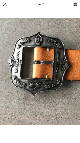 La Martina Cinturón de cuero coñac-nude