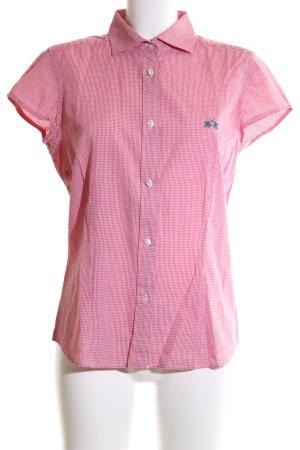 La Martina Short Sleeve Shirt pink-white check pattern business style