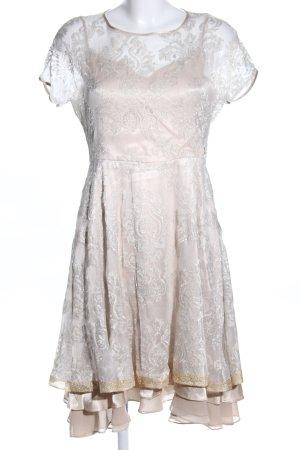 La Martina Kurzarmkleid wollweiß Blumenmuster Elegant