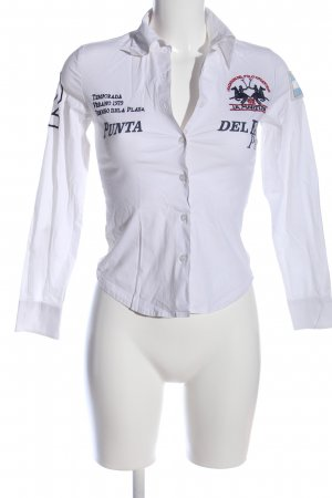 La Martina Langarmhemd weiß-schwarz Motivdruck Casual-Look