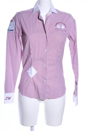 La Martina Camisa de manga larga rosa-blanco estampado a rayas look casual