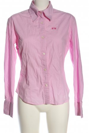 La Martina Long Sleeve Shirt pink embroidered lettering business style