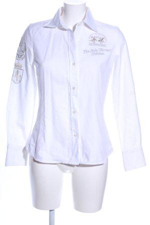 La Martina Camisa de manga larga blanco estampado temático look casual
