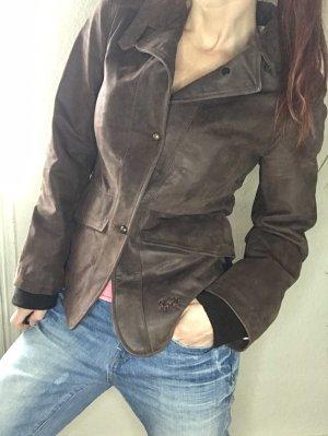 La Martina Blazer de cuero marrón-rosa claro