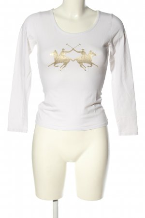 La Martina Longsleeve white-gold-colored themed print casual look