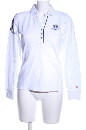 La Martina Polo-Shirt weiß Schriftzug gestickt Casual-Look