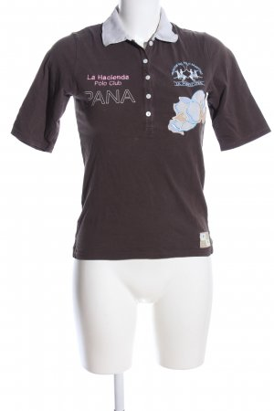 La Martina Polo-Shirt braun-weiß Motivdruck Casual-Look