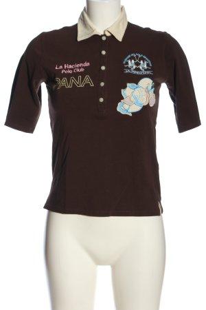 La Martina Polo-Shirt braun Schriftzug gestickt Casual-Look