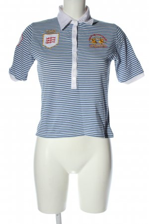 La Martina Polo Shirt blue-white striped pattern casual look