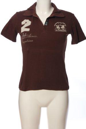 La Martina Polo-Shirt braun Motivdruck Casual-Look
