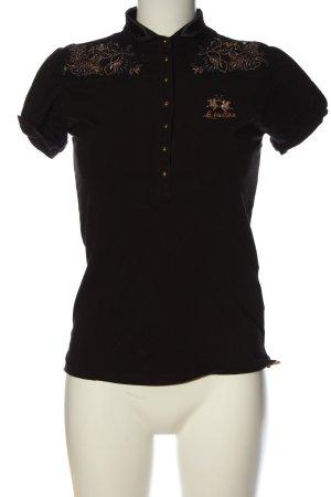 La Martina Polo-Shirt schwarz-bronzefarben Schriftzug gestickt Casual-Look