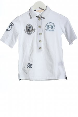 La Martina Polo Shirt white-blue themed print casual look