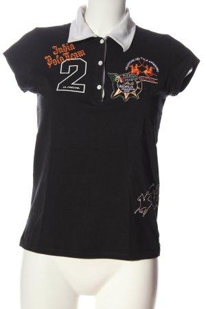 La Martina Polo-Shirt schwarz Motivdruck Casual-Look