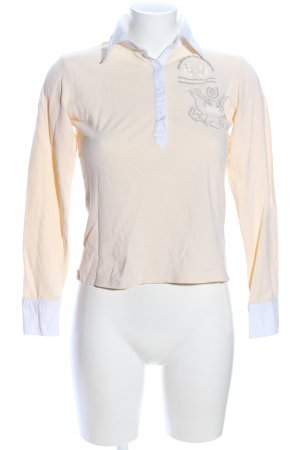 La Martina Polo-Shirt creme-weiß Motivdruck Casual-Look
