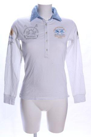 La Martina Polo-Shirt weiß-blau Motivdruck Casual-Look