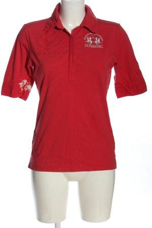 La Martina Polo-Shirt rot Schriftzug gestickt Casual-Look