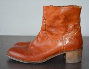 La Martina Stiefeletten Cognac Boots Leder Reißverschluß 40