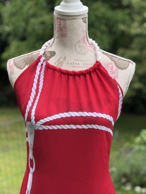 La perla Robe asymétrique blanc-rouge