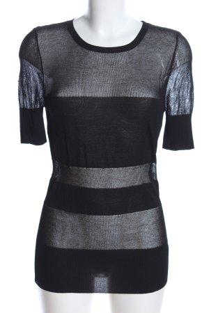 La perla Mesh Shirt black striped pattern casual look