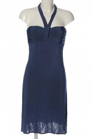 La perla Vestido de cuello Halter azul elegante