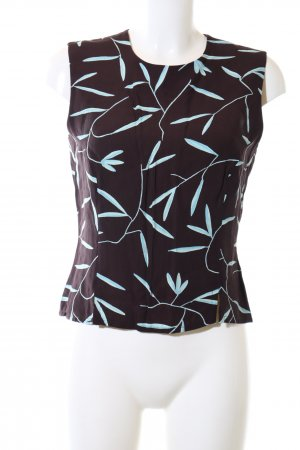 la rochelle Chemisier brun-turquoise motif de fleur style d'affaires