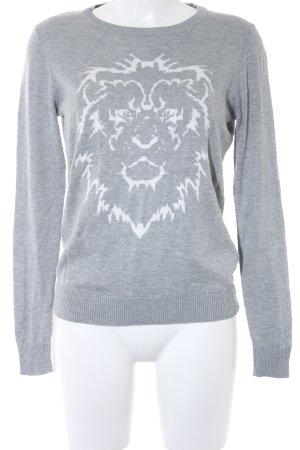 La Strada Strickpullover weiß-grau Motivdruck Street-Fashion-Look