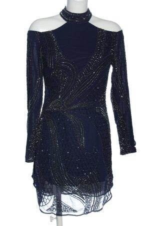 Lace & Beads Langarmkleid blau Motivdruck Elegant