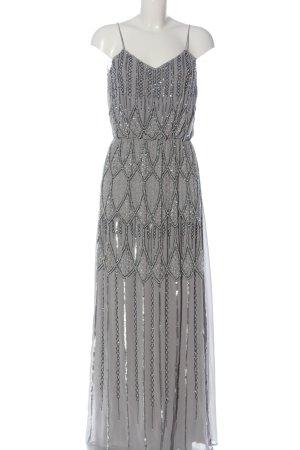 Lace & Beads Maxikleid hellgrau grafisches Muster Glanz-Optik