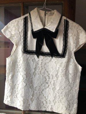 Alice + Olivia Short Sleeved Blouse white-black
