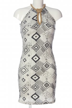 lace Halter Dress white-black allover print elegant